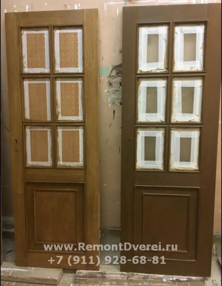 Замена лакового покрытия на шпонированных дверях Ильюшина дом 6